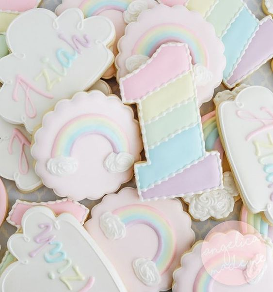 rainbow color cookie with royal icing work
