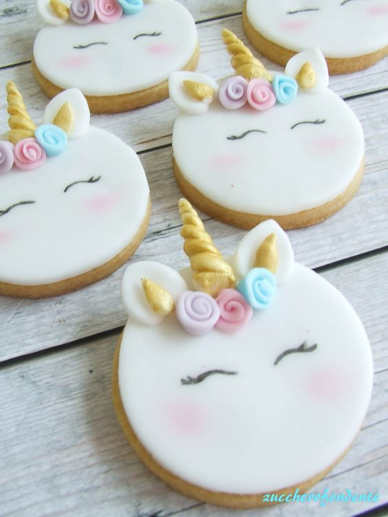 one round cookie with golden horns and unicorn look