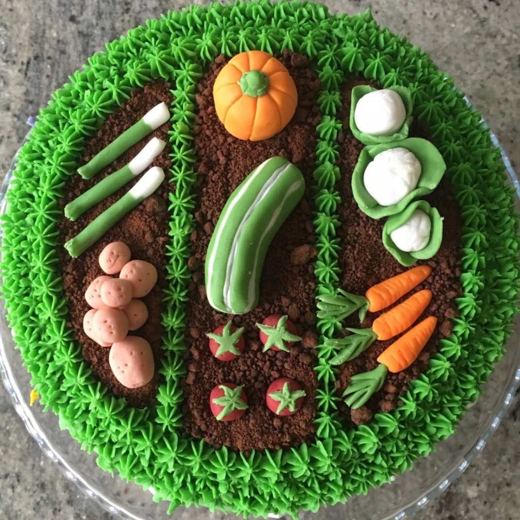 frosted grass effect on cake with fondant carved vegetables like pumpkin, carrot made on sugar - Vegetable Theme Cake Tutorials