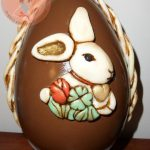 chocolate easter egg with bunny imprinted on it