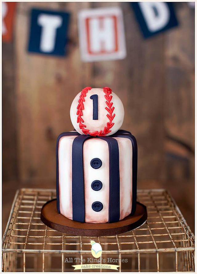 Sports Theme Cake Tutorials - baseball cake in blue red and white theme with fondant stripes