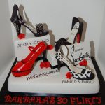 red shoe, polka dots, jimmy choo, yves saint laurent and louboutin shoesmade of gumpaste