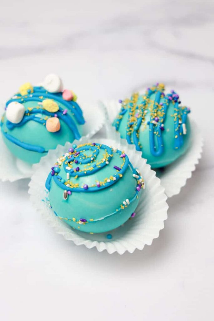 blue color spheres made of candy melts