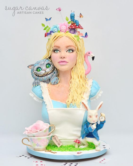 A realistic alice 3D cake with sugar figurines around this tall girl cake - Alice in Wonderland Cake Tutorials