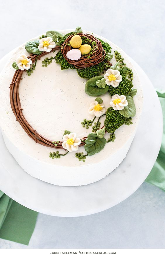 a reel frosted on white frosting with easter eggs on it for a bird nest effect on the cake - Easter Cake Tutorials