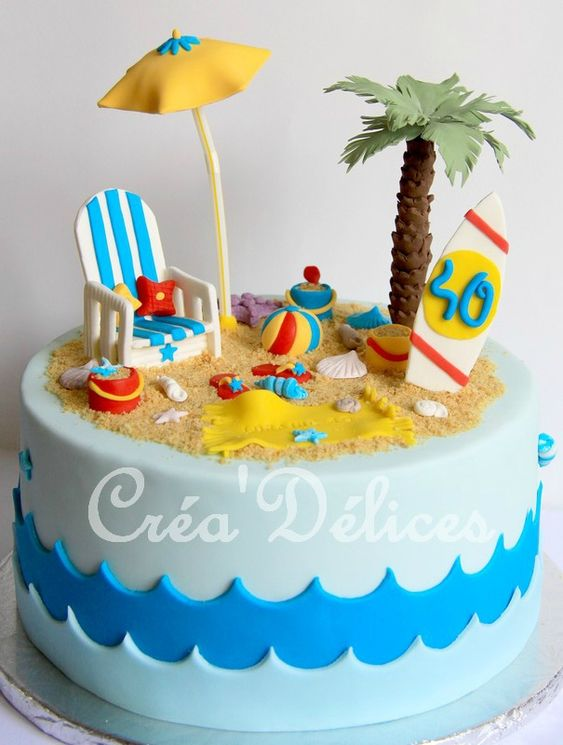 blue fondant waves with sand and coconut tree made of fondant