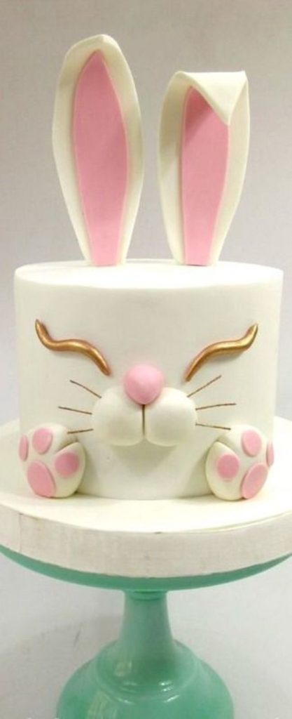 fondant cake with chocolate ganache and fondant bunny years - Easter Cake Tutorials
