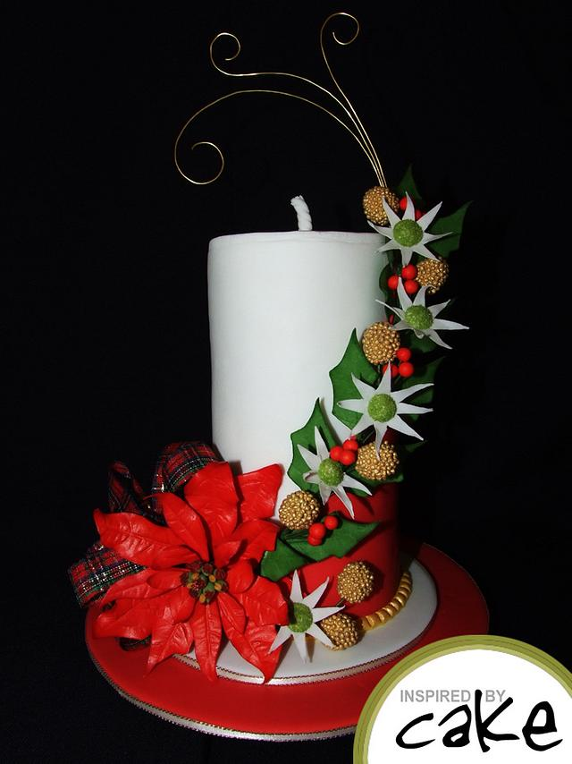 red flower with white fondant