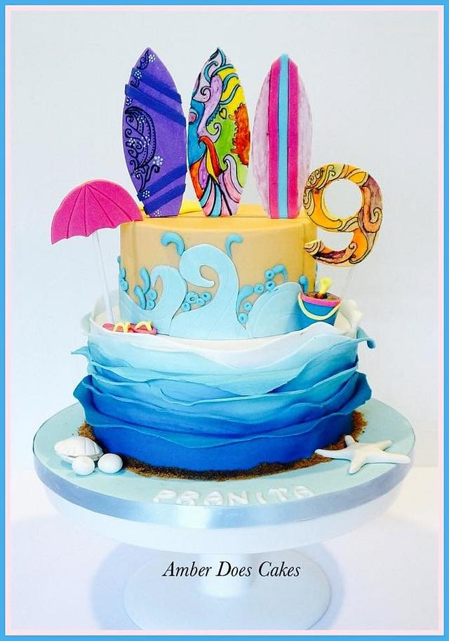 beach sailing theme with fondant surfing boards on an ombre effect cake - Beach Party Cake Tutorials