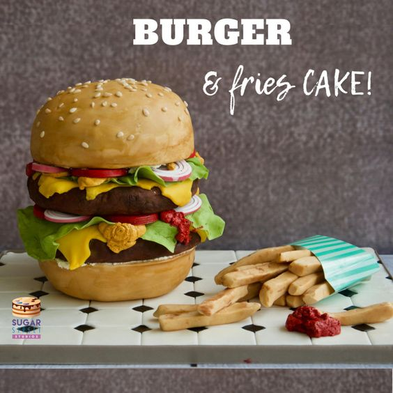 burger and fries cake made of fondant