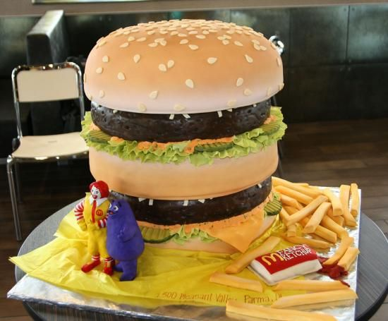 mc donalds theme with fondant french fries and tomato sauce
