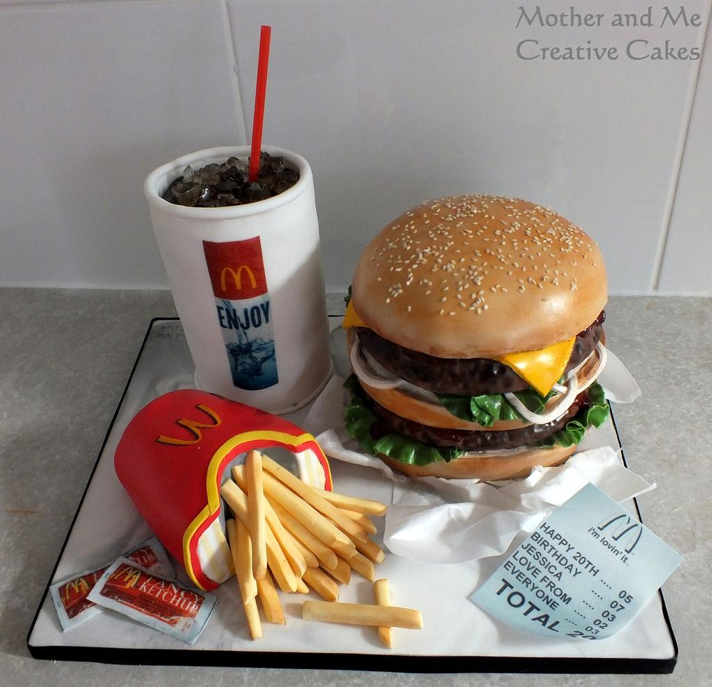 mc donalds theme cakes with coke and french fries