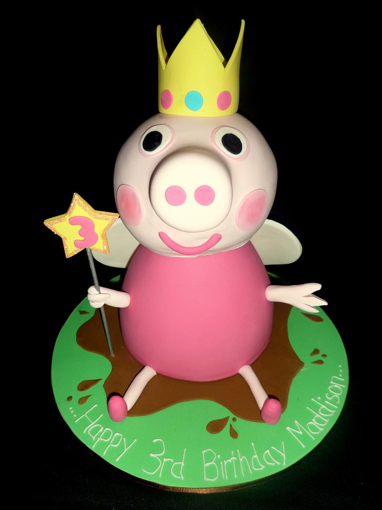 pink color peppa pig 3d cake