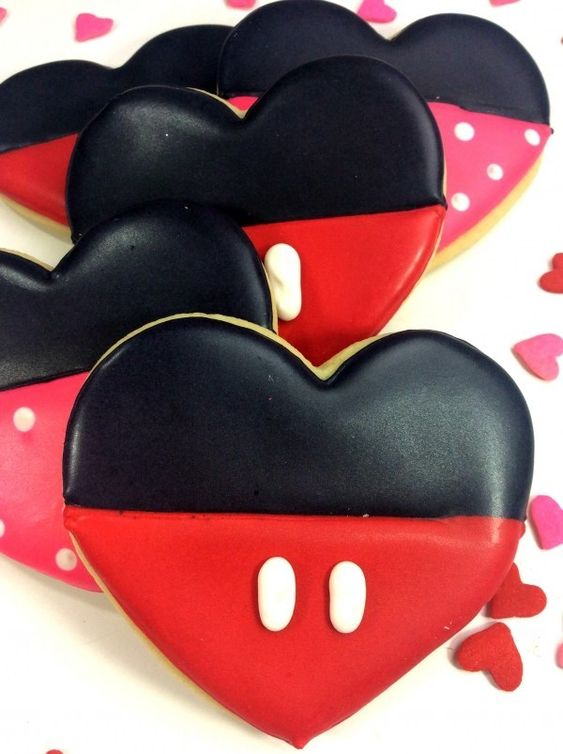 red and white heart shaped cookie that looks like mickey