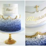 ombre effect cake in blue and gold writing