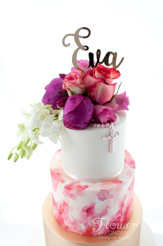 pink and purple flowers on a cake with water color effect - Christening cakes for girls