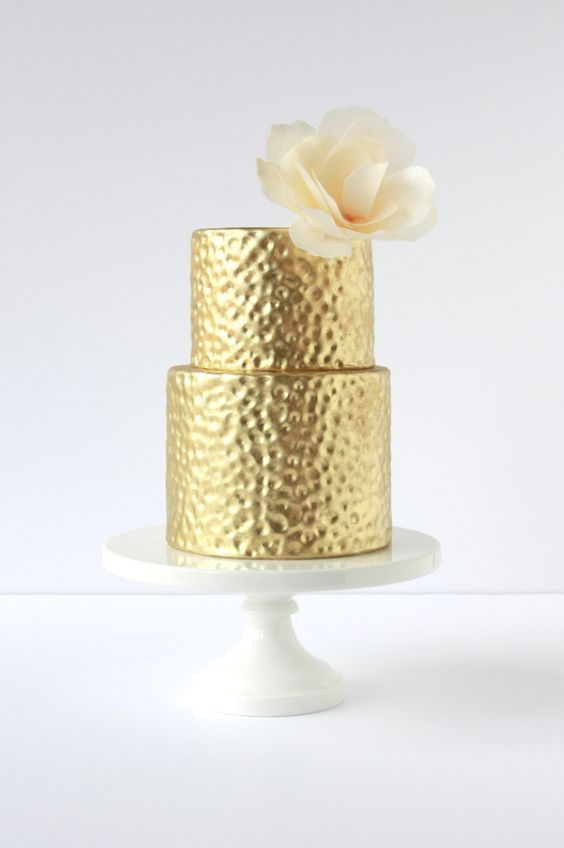gold hammered effect on fondant two tier cake
