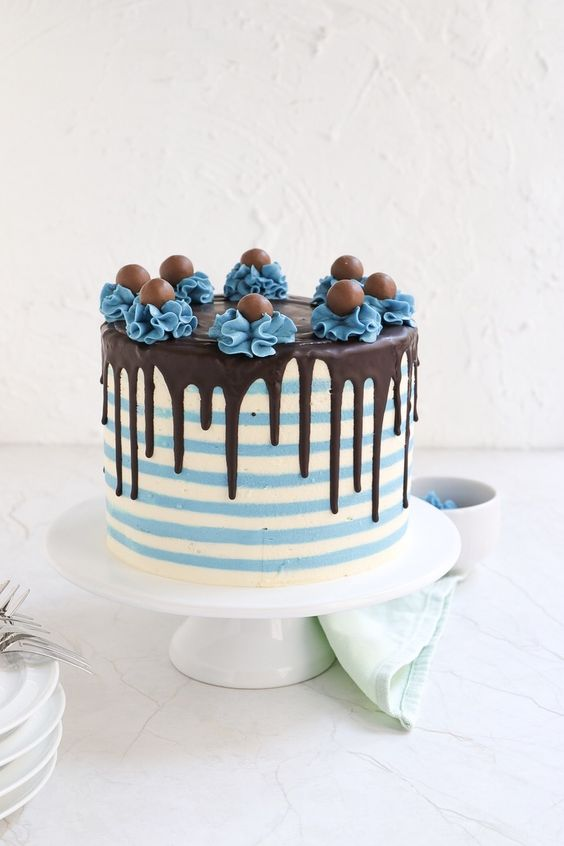 blue and white striped cake with chocolate drips