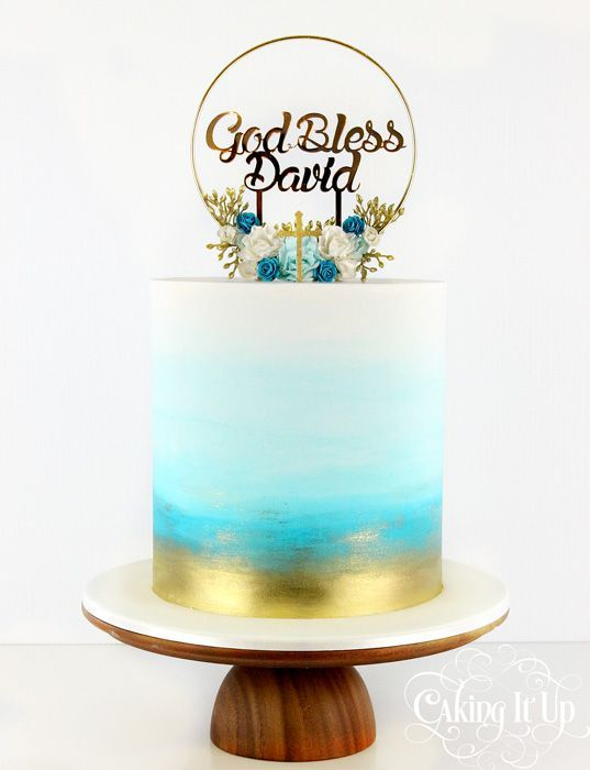 white fondant cake with blue and gold spray effect and flowers - Christening Cakes for Boys