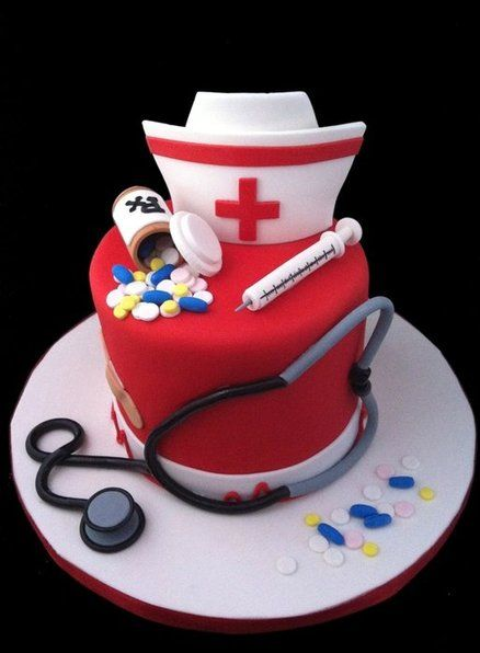 red color fondant cake with health care theme