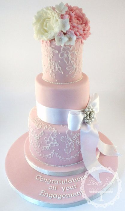 Brush Embroidery Cake Tutorials - 3 tier wedding cakes with royal icing brushed on it