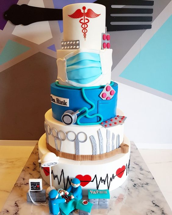 5 tier medical theme fondant cakes with medical theme elements made of sugar