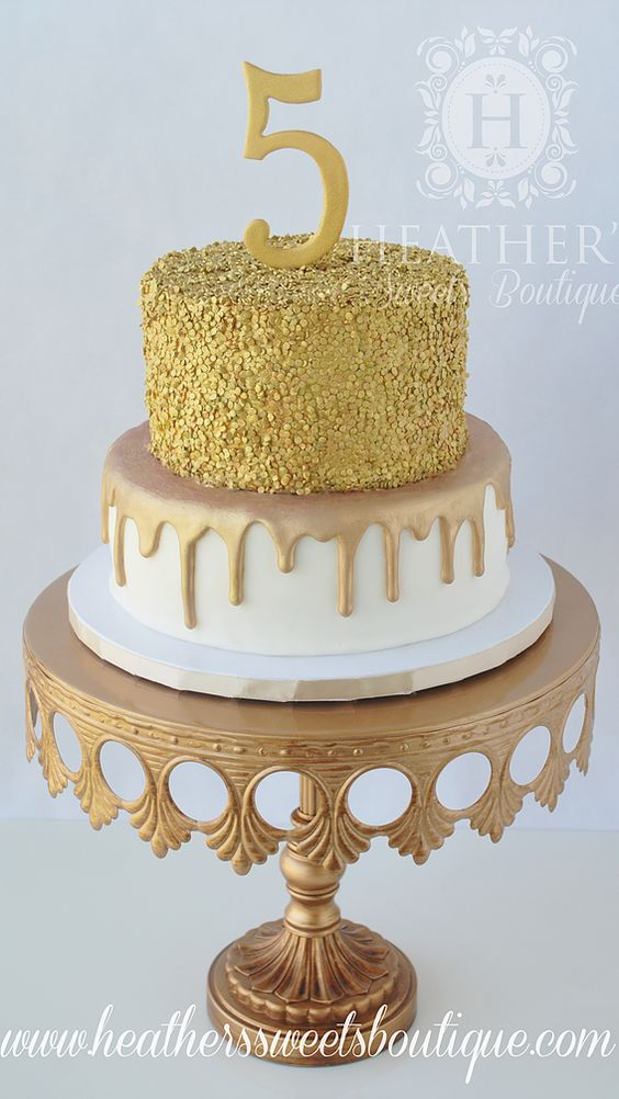 2 tier cake with sequins work on it - Gold Theme Cake Tutorials