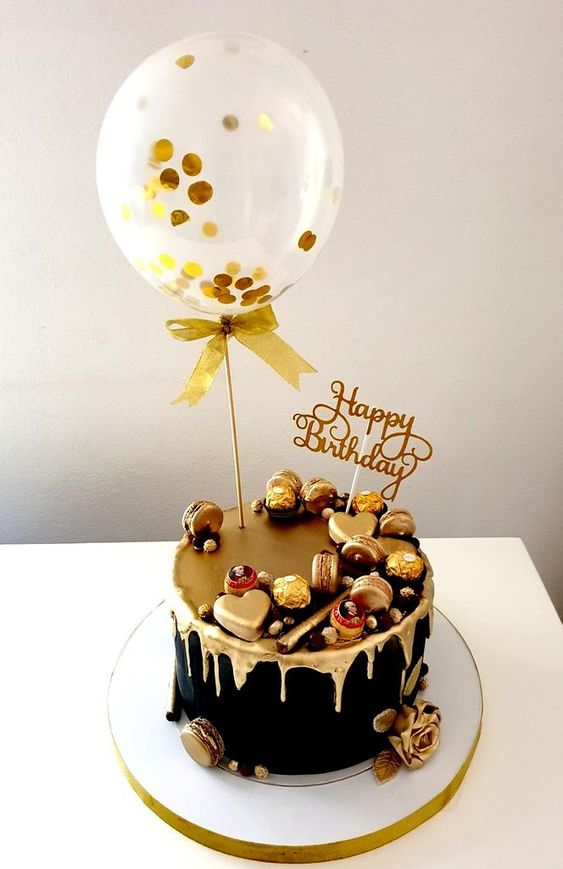 balloon on a cake with gold - Gold Theme Cake Tutorials