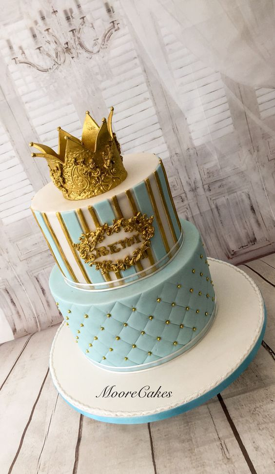 gold crown made of fondant and blue fondant covered on cake