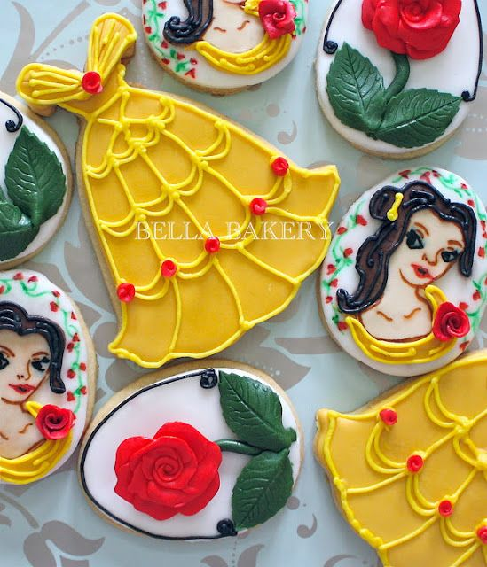 yellow beauty and the beast theme cookies