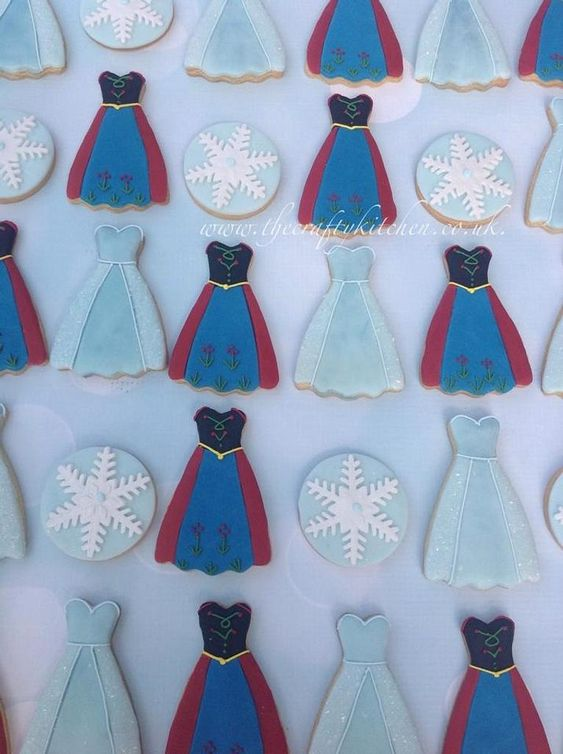a princess dress shape biscuit iced with royal icing