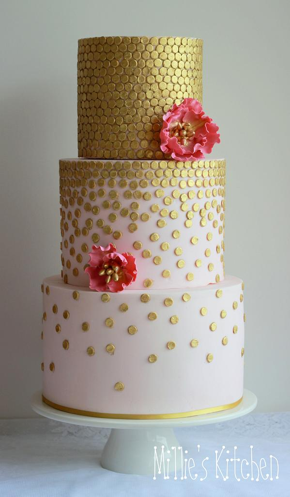 gold sequins work on a cake with white fondant