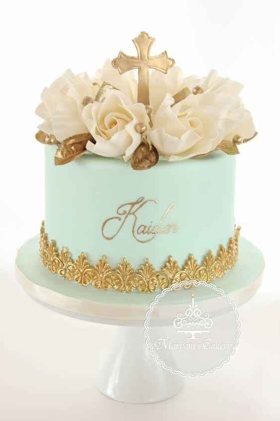 Christening Cakes for Boys - Roses with gold and cream color. Cross made of gold