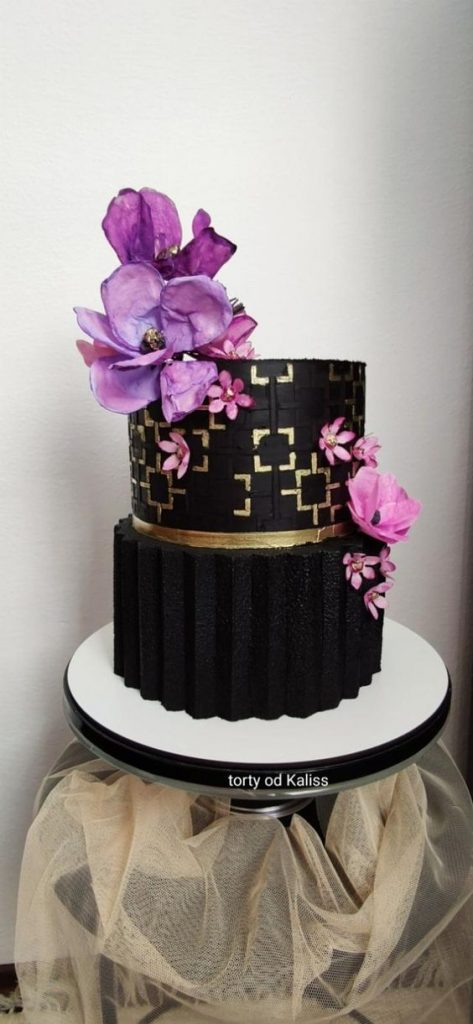 Origami Cake Tutorials - black and fold theme cakes with purple flowers