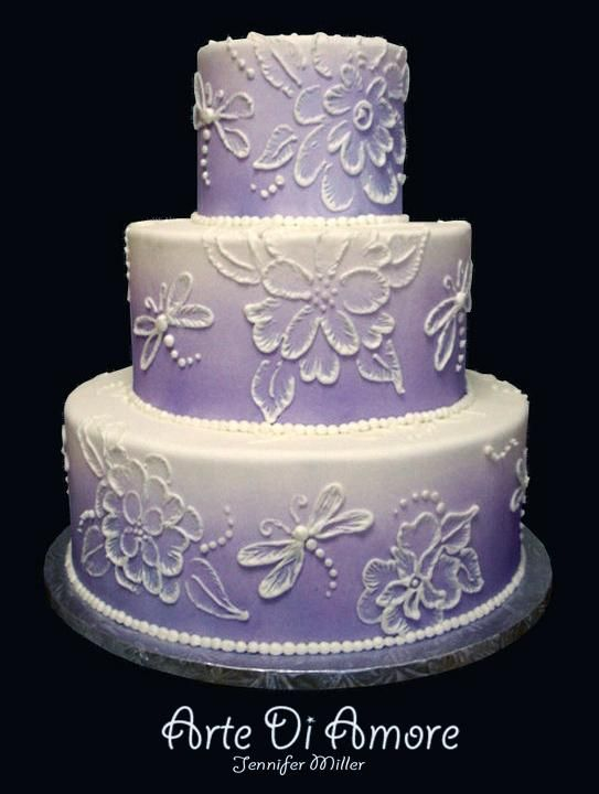 Brush Embroidery Cake Tutorials - purple airbrushed color on fondant with brush embroidery work