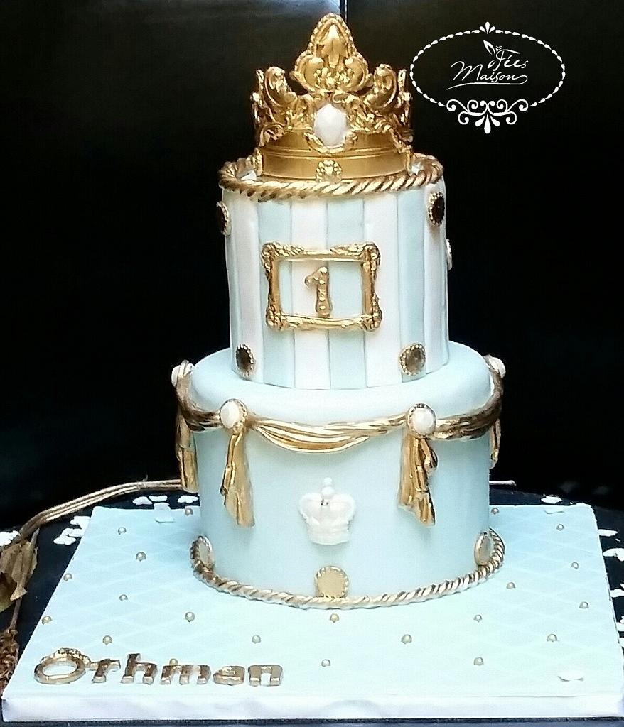 blue fondant cake with gold crown on it - Christening Cakes for Boys