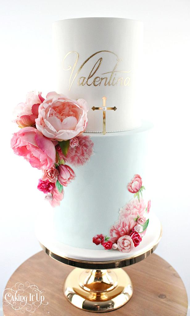 hand brushed flower paintings with edible color on cakes - Baptism theme