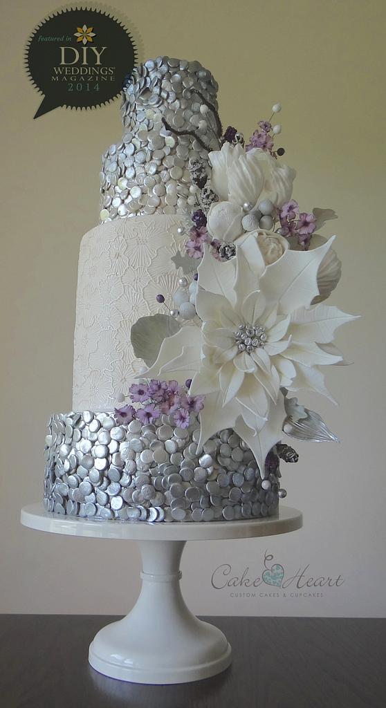silver and white fondant with edible glitters