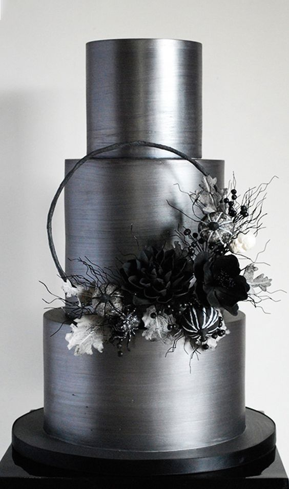 silver and black theme three tier flower cakes