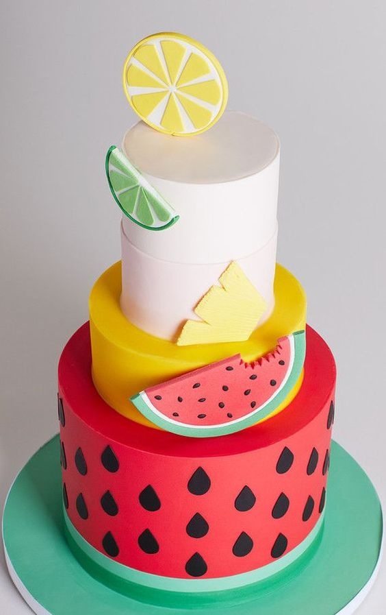 three tier watermelon inspired theme cakes - These Fruits Inspired Cake Ideas are perfect for a tropical party or a Hawaii theme party or simply for a fruit lover