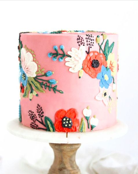 Floral Theme Cake Tutorials with brush embroidery effect