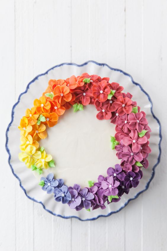 colorful rainbow effect - Floral Theme Cake Tutorials