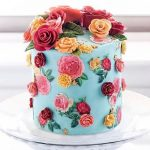 Floral Theme Cake Tutorials - colorful flowers on cake