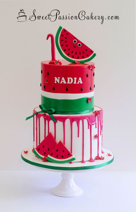 watermelon theme with red drip effect and fondant