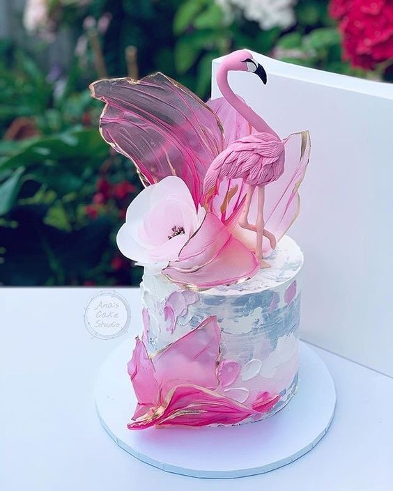 flamingo theme cakes with pink and grey work