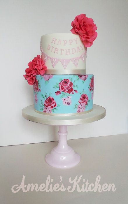 floral blue edible paper on cakes