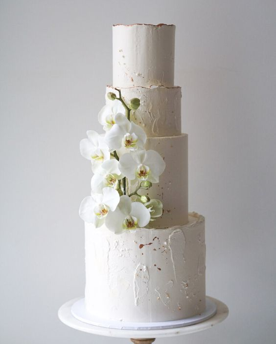 wedding cake with fondant orchids