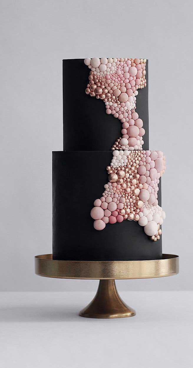 Black theme cake tutorials - two tier cake with bubble like fondant work on it