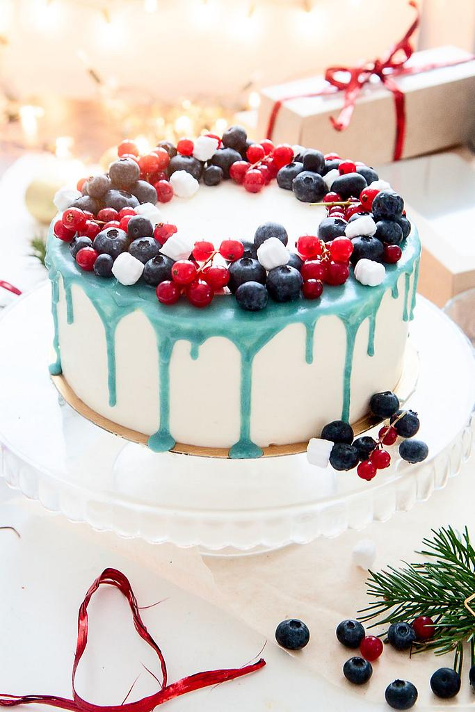 berry cake with blue drip effect