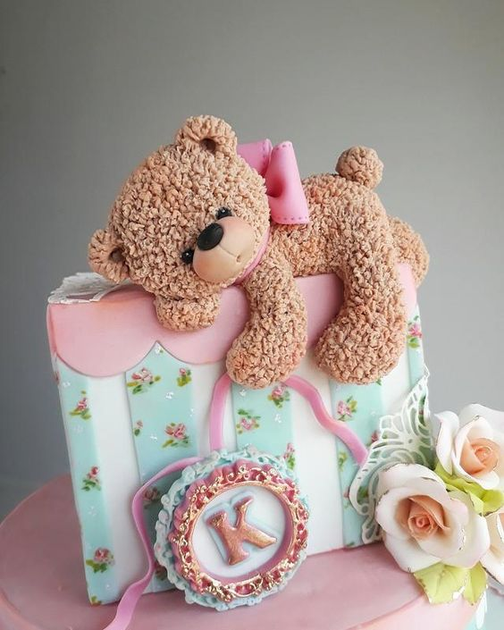 sleeping cake teddy with roses